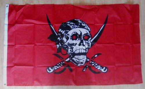 Rouge-Grand drapeau Pirate Skull 152 x 91 cm.