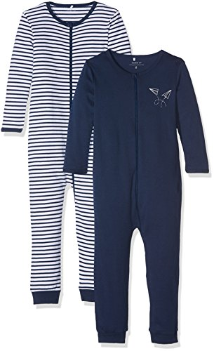 NAME IT Baby-Jungen NMMNIGHTSUIT 2P Zip Dress Blues NOOS Schlafstrampler, Mehrfarbig, 98 (2erPack)