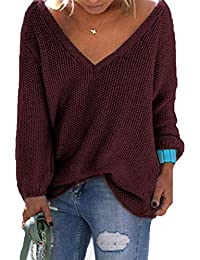 YOINS Strickpullover Damen Pullover Winter V Ausschnitt Sexy Oberteil Damen Oberteile Elegant