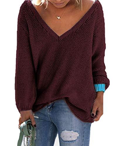 YOINS Strickpullover Damen Pullover Winter V Ausschnitt Sexy Oberteil Damen Oberteile Elegant Rotwein EU40-42 (Pullover Damen-ausschnitt)