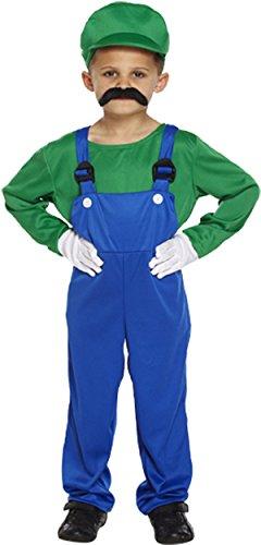 vogueland Kinder Kostüm Super Mario Arbeiter rot grün Gr. Large ( 10-12 ), (Kostüme Jungen Mario Super)