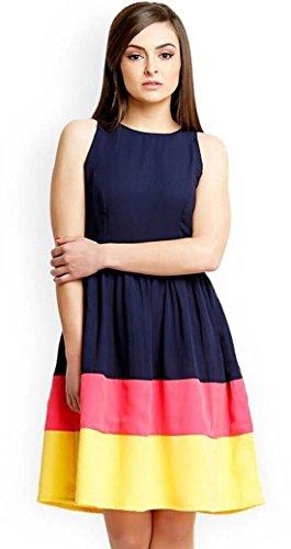 ThuRon Women\'s American Crepe Western Wear-One Piece Kurti (Bluee one piece_Blue_XXL)