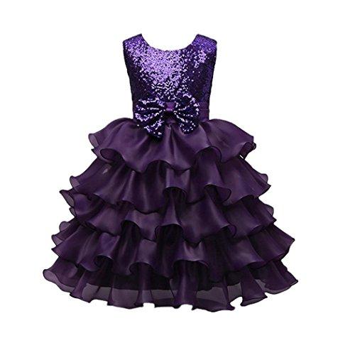 Mädchen Kleider Kinder Kleider Festlich Kleid Longra Kindermode Kinderkleidung Bowknot Paillette Prinzessin Tutu Kleid Brautjungfer Hochzeit Kleid Geburtstag Party Kleid (Purple, 130CM 6Jahre) (Pants Knit Purple)
