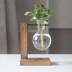 Magiin Jarrón de Vidrio Transparente Terrario de Plantas Colgantes con Soporte de Madera Maciza Retro para Jardinería Planta de Hidroponía Decoración de Casa