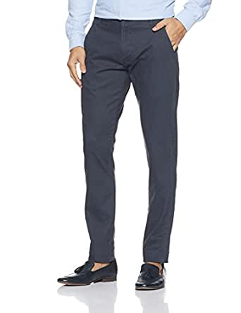 Indigo Nation Men's Straight Fit Formal Trousers (50011793138002_Navy_32W x 33L)