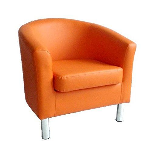 Gepolsterte Leder-club Sessel (Moderner Tub Stuhl Sessel Kunstleder mit Chrom Beinen Home Esstisch Wohnzimmer Lounge Office Empfang orange)