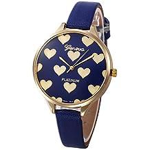 Bestow Reloj Mujeres Casual Checkers Faux Leather Reloj Anal¨gico de Cuarzo Geneva Womens Love