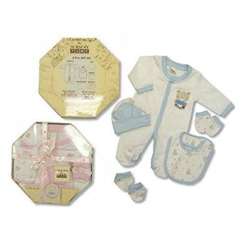 Baby Boy neonati (0 - 3 mesi) 6 pezzi blu e bianco Boxed Set regalo - Pigiama & Accessories