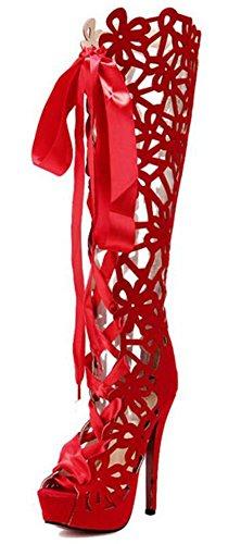 Wealsex Sandale Hauteur Genou Talons Haute Plateforme Bout Ouvert Sandale Spartiate Lacet Noir Rouge Femmes Rouge