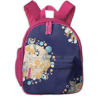 Childrens Backpack for Girls,Moons of Cats, Pandas U0026 Unicorns 1_4251-selmacardoso,for Children's Schools Oxford Cloth (Pink)