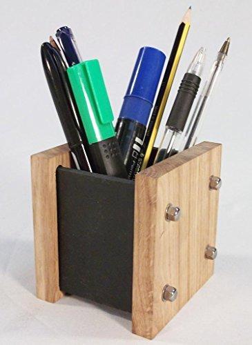 Oak Slate Design Handgemachte Stiftbox aus solidem Eichenholz und natürlicher Schieferplatte / Schreibtisch-Butler, moderner Stil, ein ideales Geschenk (Holz-Bleistifthalter, Behälter, Stiftbox)
