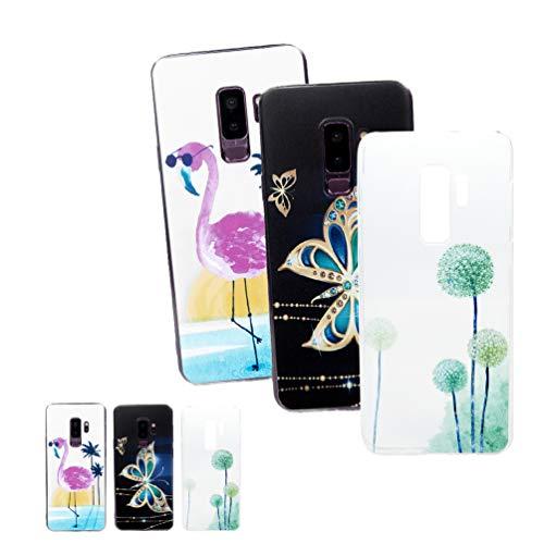 LaVibe Coque Samsung Galaxy S9 + / S9 Plus, Étui Gel Silicone TPU Transparant Protecteur Housse Anti-Rayures Pare-Chocs Bumper Souple Ultra Slim Flexible Soft Case Cover - Papillon d'or