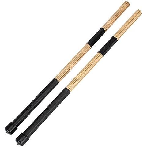 bacchetta del tamburo - TOOGOO(R) Bacchette di bambu' per batteria, per musica jazz-folk, 1 paio, 40 cm