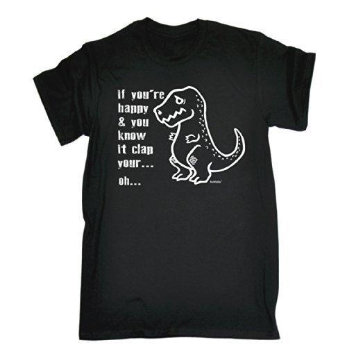 123t da uomo-Se sei felice e You Know It intrecci marroni le tue mani-Vestibilità ampia T-Shirt (stile invecchiato Stampa) Black Large