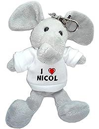 Elefante de peluche (llavero) con Amo Nicol en la camiseta (nombre de pila/apellido/apodo)