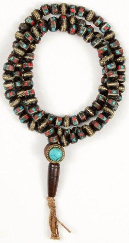 Mala - tibetische Gebetskette Horn mit Steinen besetzt dunkel 8 mm Gesamtlänge von 70 cm
