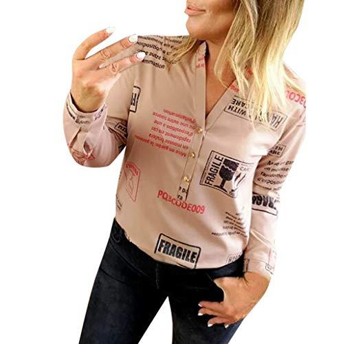 3/4 Ärmel Vintage-pullover Top (Bluse Damen Herbst Shirt Knopf Fünfzackigen Stern Hot Drill Tops Oberteil Langarm 3/4 Ärmel O-Ausschnitt Sweatshirt Langarmshirt Lose Hemd Tunika)