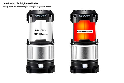 SUBOOS Ultimate Rechargeable LED Camping Lantern and 5200mAh Power Bank – Perfect For: Camping, Hiking, Workshop, Auto Emergencies – 2 Battery Options(All Batteries Included) – 5 Year Warranty