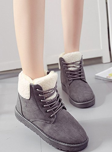Minetom Damen Mode Martin Stiefel Winter Warm Baumwolle Schuhe Runde Zehe Schnee Stiefel Lace Up Boots Grau