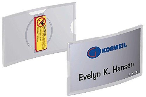 Durable 812319 Namensschild konvex mit Magnet, 40 x 75 mm, Packung à 25 Stück transparent