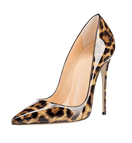 Soireelady Scarpe col Tacco a Stiletto Leopardate con Punta Decolete Scarpe Leopard EU37
