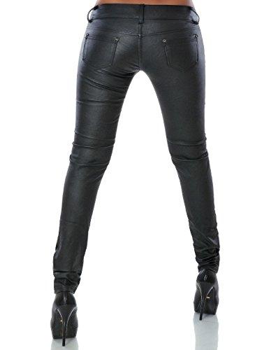 Damen Kunstlederhose Skinny (Röhre) No 14126 Schwarz