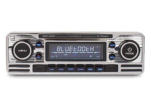 Caliber RMD120BT Retrodesign Autoradio mit Bluetooth Freisprechanlage (SD Kartenslott, USB Anschluss) Chrome Silber (Club-car-computer)