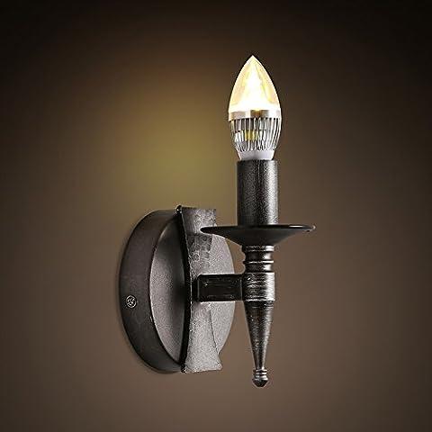 BBSLT American retro escaleras dormitorio pared luz corredor industrial rústica lámpara hierro negro solo vela lámpara de pared 125 *