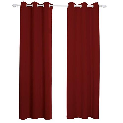 Aquazolax Blickdichte Vorhänge mit Schlaufen 2er Set Monochrome Vorhänge, Minimalistischer Stil, Beschattung Isolierung, Geeignet für Schlafzimmer, Wohnzimmer, 106 cm x 160 cm (B x L), Rot (Tülle Oben 84 Vorhänge)