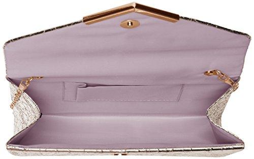Swanky Swans - Anastasia Envelope Metallic Clutch Bag, Pochette da giorno Donna Argento (Silver)