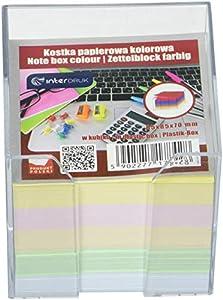 Interdruk KOSPAPKKUBD - Hojas Sueltas (85 x 85 x 70 mm, en Soporte de Bloque de plástico), Multicolor