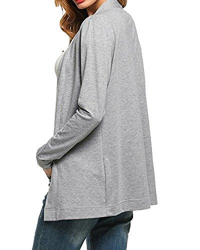 Auxo Donna Cardigan Primaverile Eleganti Pullover Maniche Lunghe Maglioni Sweatshirt Grigio