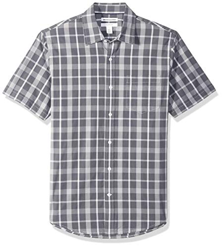 Amazon Essentials Slim-Fit Short-Sleeve Check Shirt Buttondown-Hemd, Charcoal Plaid, US (EU XS) -