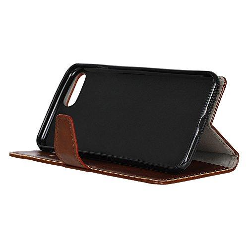 """MOONCASE iPhone 7 Coque, [Haute Protection] Housse en Prime Cuir Etui à rabat pour iPhone 7 4.7"""" Portefeuille Porte-cartes TPU Case avec Béquille Noir Marron"""