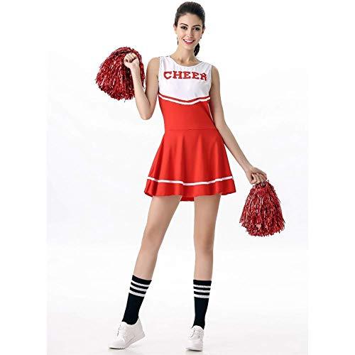 AIWUHE Mädchen Cheerleader Kostüm mit Pompons Anzug High School Modern Tanz Performance Tanzkleidung Karneval Fasching Party Halloween - High School Tanz Kostüm