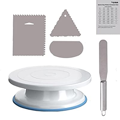 Yizish Cake Turntable, Rotating Cake Stand with Stainless Steel Icing Spatula and Icing Smoother