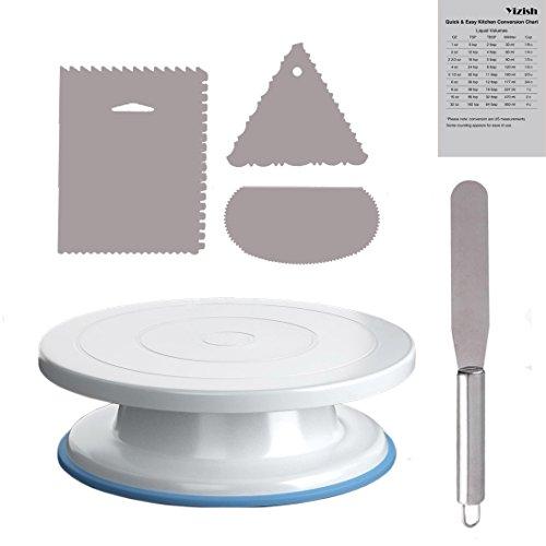 Gâteau platine, Yizish 27,9 cm rotatif support à gâteau en acier inoxydable avec spatule de glaçage et glaçage Plus lisse (3 Pièces) pour la cuisson, décoration de gâteaux, pâtisseries et cupcakes