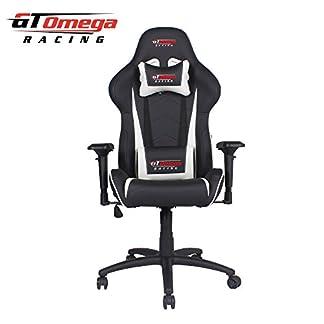 GT Omega Pro Racing silla de oficina negro siguiente Blanco Piel V2