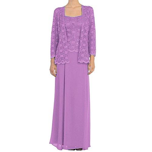 HWAN Mutter der Braut Kleid Chiffon lange formale Kleider mit Spitze Jacken Wraps Flieder (Wrap Formale)