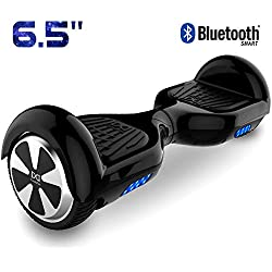 "Cool&Fun 6.5"" Hoverboard Patinete Eléctrico Scooter Talla LED 350W*2 Bluetooth (Black-Black)"