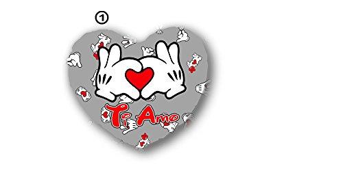 Cuscino a forma di cuore grande colore grigio con scritta ti amo, san valentino