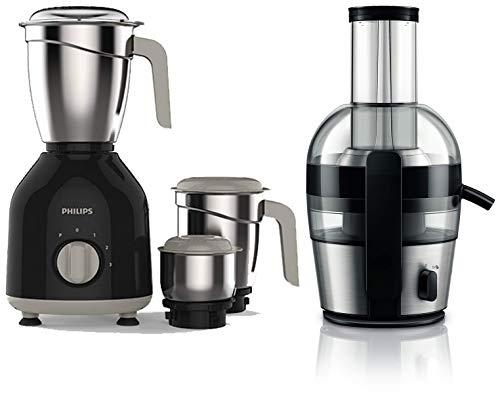 Philips HL7756/00 750-Watt Mixer Grinder + Philips Viva Collection HR1863/20 2-Litre Juicer (Black/Silver)