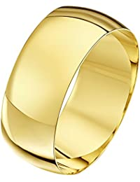 Theia Unisex 9 ct Yellow, White or Rose, Heavy D Shape, Polished, 2-10 mm Wedding Ring