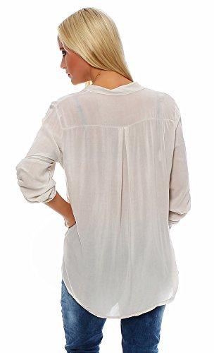 Moda Italy - Dames Coton Blouse Tunique Chemise de pêche Manches Longues Loose-Fit Beige