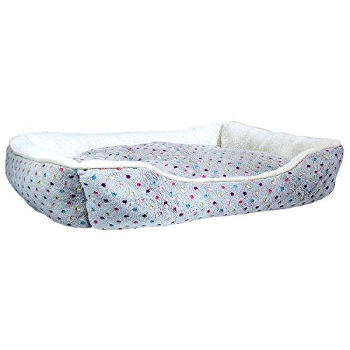 Charles-Bentley-Plush-Polka-Dot-Large-Grey-Soft-Dog-Bed-Washable-H20-x-L90-x-D70cm