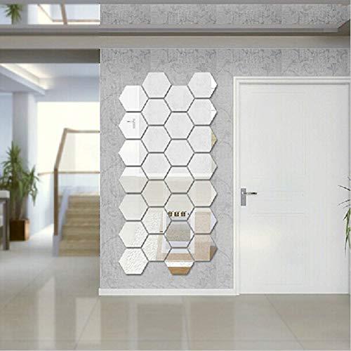 Forart Hexagon Spiegel 12 STÜCKE Geometrische Hexagon Spiegel Abnehmbare Hexagon Spiegel Kunst DIY Dekorative 3D Hexagonal Acryl Spiegel Wandaufkleber - Hexagon Spiegel