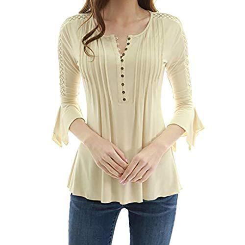 Bazhahei donna top,maglie maniche lunghe donna giuntura pulsante camicia in pizzo t-shirt maniche lunghe blouse elegante camicette donna lunghe manica lunga - donna manica lunga chiffon top