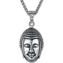 Aoiy - Collar con colgante de hombre de acero inoxidable, Buda, cadena de 61cm, aap081