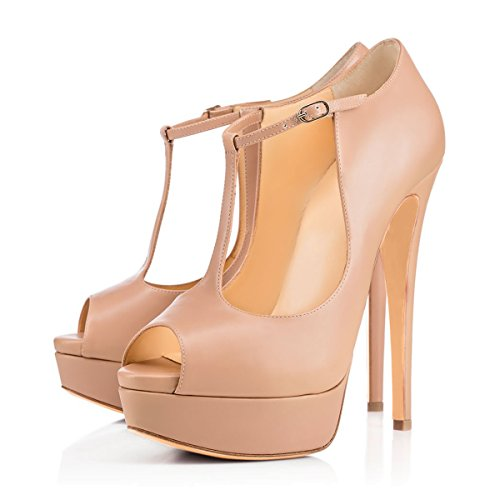 Damen Peep Toe Pumps Sandalen High-Heels Stiletto T-Spange mit Plateau Pink