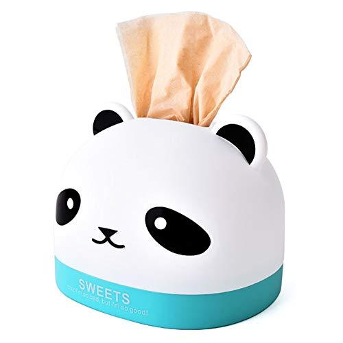 Haodou Tissue-Box Tissue Box Einfarbig Kunststoff Tissue Boxen Panda Form Kosmetiktücherbox Kosmetiktücher-Box Papiertaschentücher-Boxen für Home Office Auto 13 * 16.7cm(blau)